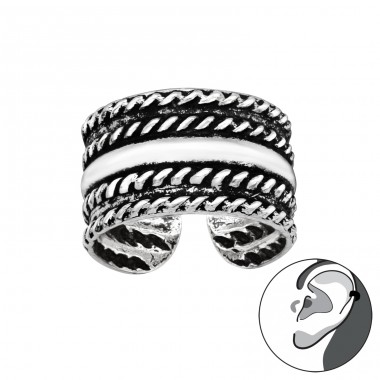 Rope oxydized - 925 Sterling Silver Ear Cuffs And Ear Pins A4S41707