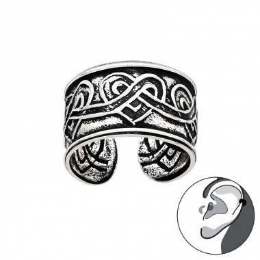 Celtic Heart oxydized - 925 Sterling Silver Ear Cuffs And Ear Pins A4S41712