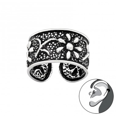 Flower oxydized - 925 Sterling Silver Ear Cuffs And Ear Pins A4S41714
