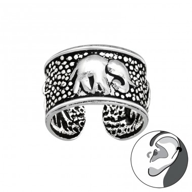 Asian elephant oxydized - 925 Sterling Silver Ear Cuffs And Ear Pins A4S41736
