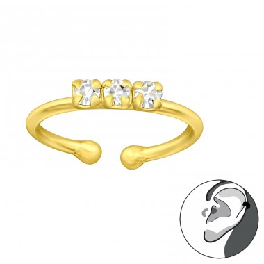 Golden 3x Zirconia - 925 Sterling Silver Ear Cuffs And Ear Pins A4S42078