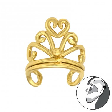 Golden Crown - 925 Sterling Silver Ear Cuffs And Ear Pins A4S42149