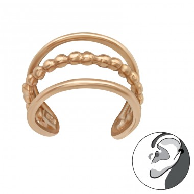 Rosegold 3 stripes - 925 Sterling Silver Ear Cuffs And Ear Pins A4S42150