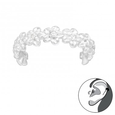 Flower - 925 Sterling Silver Ear Cuffs and Ear pins A4S42253