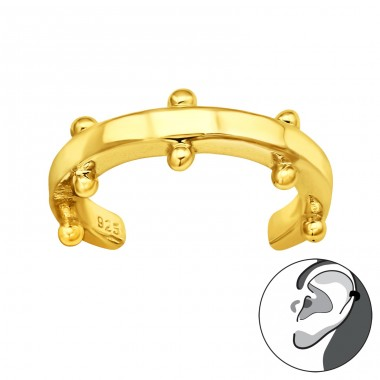 Golden Patterned - 925 Sterling Silver Ear Cuffs And Ear Pins A4S42258