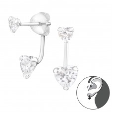 Hanging Heart - 925 Sterling Silver Double-sided Ear Studs A4S17031