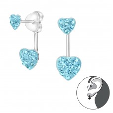 Double Heart - 925 Sterling Silver Double-sided Ear Studs A4S17884