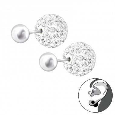 Double Ball - 925 Sterling Silver Double-sided Ear Studs A4S22423