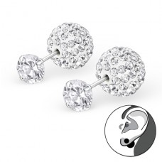 Double - 925 Sterling Silver Double-sided Ear Studs A4S22650