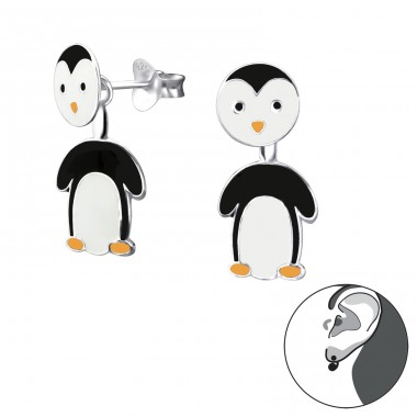 Penguin - 925 Sterling Silver Double-sided Ear Studs A4S24266