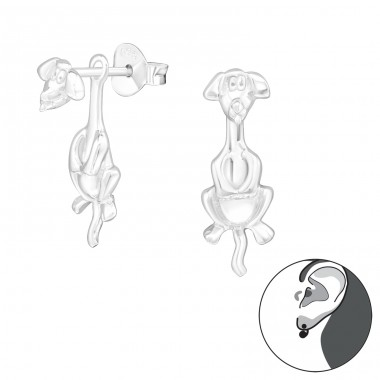 Dog - 925 Sterling Silver Double-sided Ear Studs A4S24268