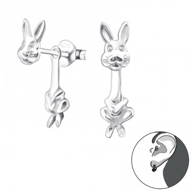 Rabbit - 925 Sterling Silver Double-sided Ear Studs A4S24270