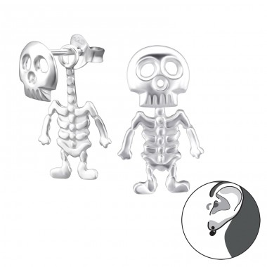 Skeleton - 925 Sterling Silver Double-sided Ear Studs A4S24278