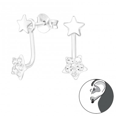 Star - 925 Sterling Silver Double-sided Ear Studs A4S24322
