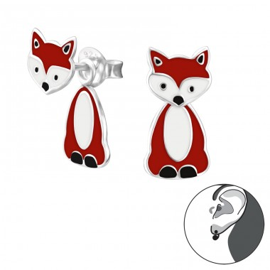 Fox - 925 Sterling Silver Double-sided Ear Studs A4S24630