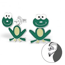 Frog - 925 Sterling Silver Double-sided Ear Studs A4S24672