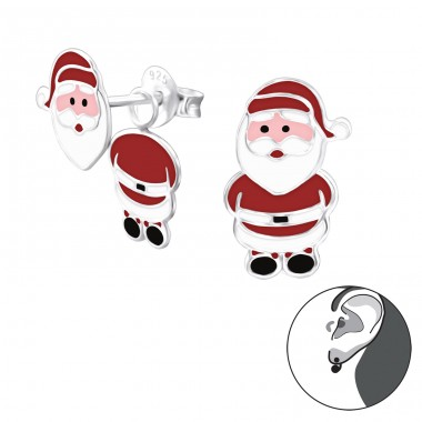 Santa Claus - 925 Sterling Silver Double-sided Ear Studs A4S24675