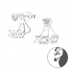 Xoxo - 925 Sterling Silver Double-sided Ear Studs A4S24755