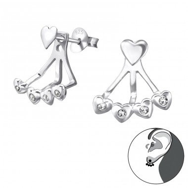 Heart - 925 Sterling Silver Double-sided Ear Studs A4S24759