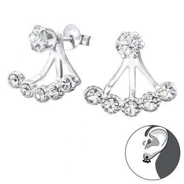 Round - 925 Sterling Silver Double-sided Ear Studs A4S24762