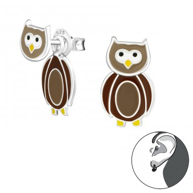 Owl - 925 Sterling Silver Double-sided Ear Studs A4S24827