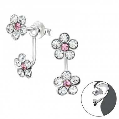 Flowers - 925 Sterling Silver Double-sided Ear Studs A4S27707