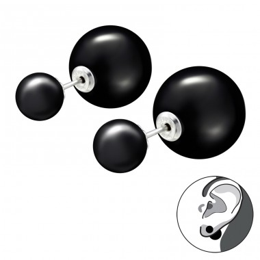 Double  Ball - 925 Sterling Silver Double-sided Ear Studs A4S27769
