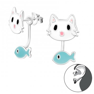 Cat And Fish - 925 Sterling Silver Double-sided Ear Studs A4S27773
