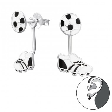 Football And Boots - 925 Sterling Silver Double-sided Ear Studs A4S28004