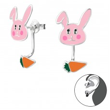 Rabbit And Carrot - 925 Sterling Silver Double-sided Ear Studs A4S28141
