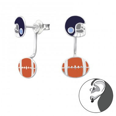 American Football - 925 Sterling Silver Double-sided Ear Studs A4S28142
