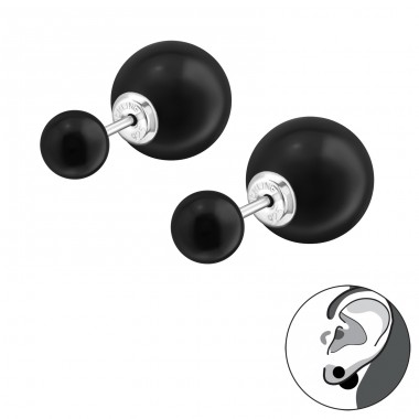 Double Ball - 925 Sterling Silver Double-sided Ear Studs A4S28161