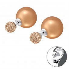 Double Ball - 925 Sterling Silver Double-sided Ear Studs A4S28163