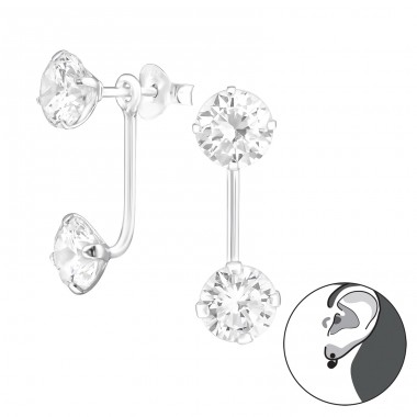 Round - 925 Sterling Silver Double-sided Ear Studs A4S28591