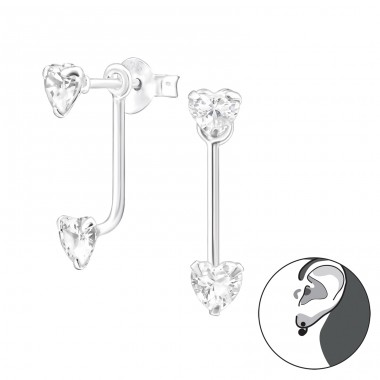 Heart - 925 Sterling Silver Double-sided Ear Studs A4S28592