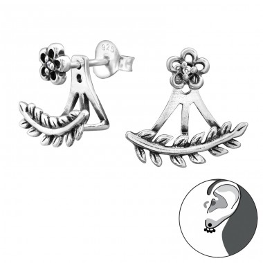 Flower And Branch - 925 Sterling Silver Double-sided Ear Studs A4S28744