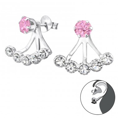 Round - 925 Sterling Silver Double-sided Ear Studs A4S28748