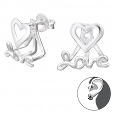 Love - 925 Sterling Silver Double-sided Ear Studs A4S28750