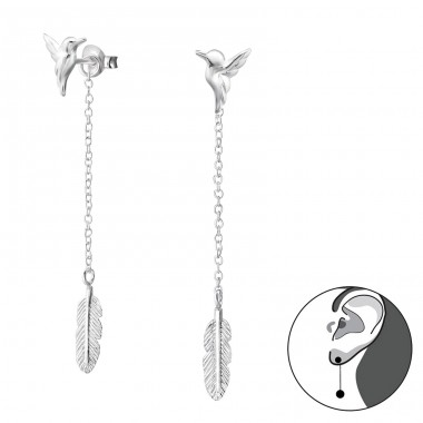 Bird And Feather - 925 Sterling Silver Double-sided Ear Studs A4S29135