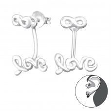 Infinity Love - 925 Sterling Silver Double-sided Ear Studs A4S29137