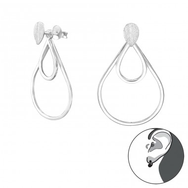 Pear - 925 Sterling Silver Double-sided Ear Studs A4S29138