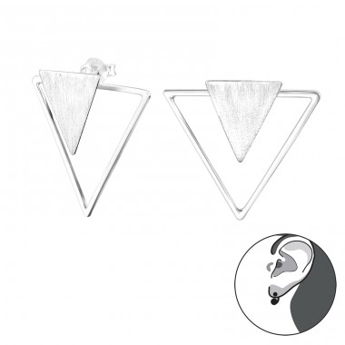 Triangle - 925 Sterling Silver Double-sided Ear Studs A4S29140