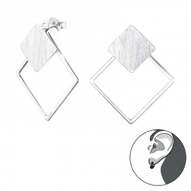 Square - 925 Sterling Silver Double-sided Ear Studs A4S29141