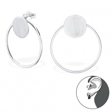 Circle - 925 Sterling Silver Double-sided Ear Studs A4S29142
