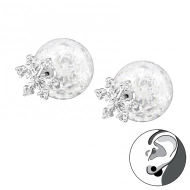 Snowflake With Cracked Ball - 925 Sterling Silver Double-sided Ear Studs A4S29334