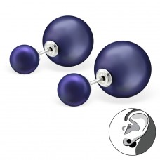 Double Ball - 925 Sterling Silver Double-sided Ear Studs A4S29592
