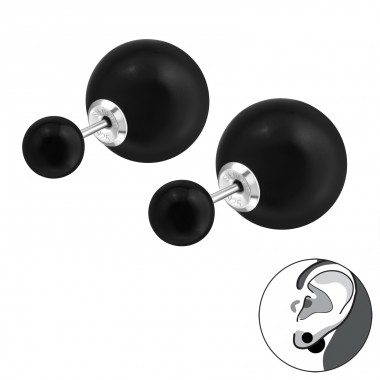 Double Ball - 925 Sterling Silver Double-sided Ear Studs A4S29593