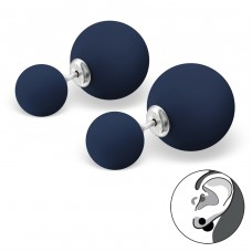 Double Ball - 925 Sterling Silver Double-sided Ear Studs A4S29595