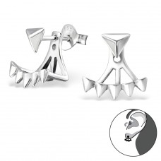 Triangle - 925 Sterling Silver Double-sided Ear Studs A4S29622