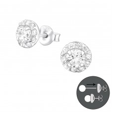 Interchangeable - 925 Sterling Silver Double-sided Ear Studs A4S30411